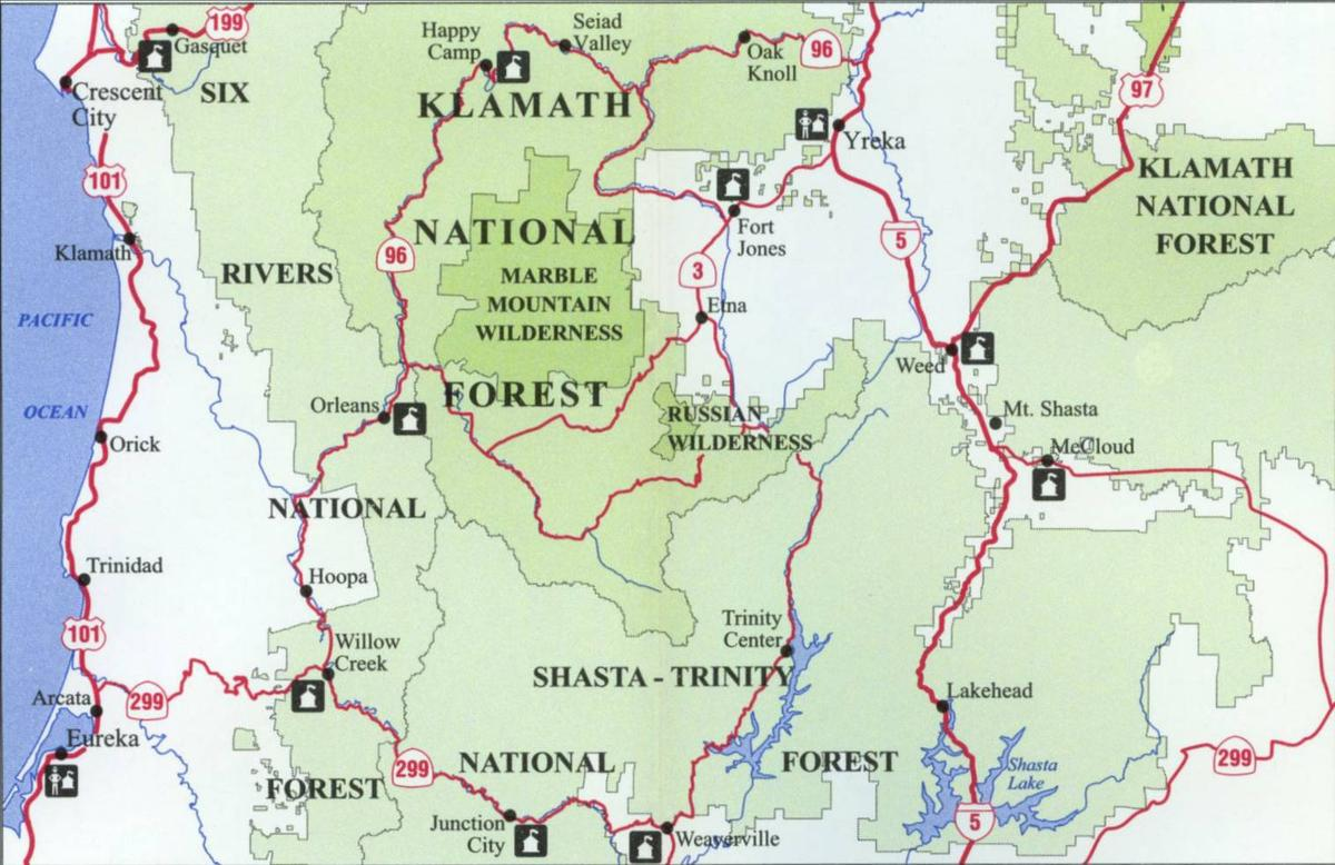 National Forests In California Map.Klamath National Forest Map Northwest Nature Shop