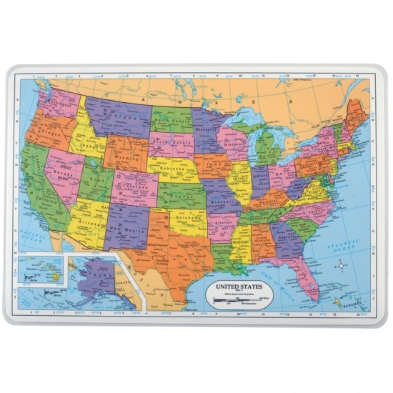 Painless Learning Educational Placemat United States Map