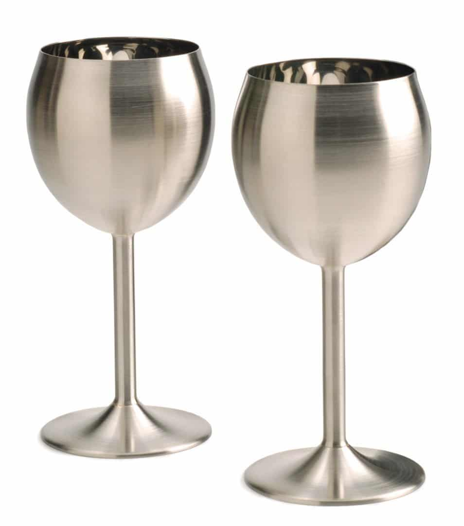 2d3ecaf64bc Stainless Steel Wine Glasses - Set of 2