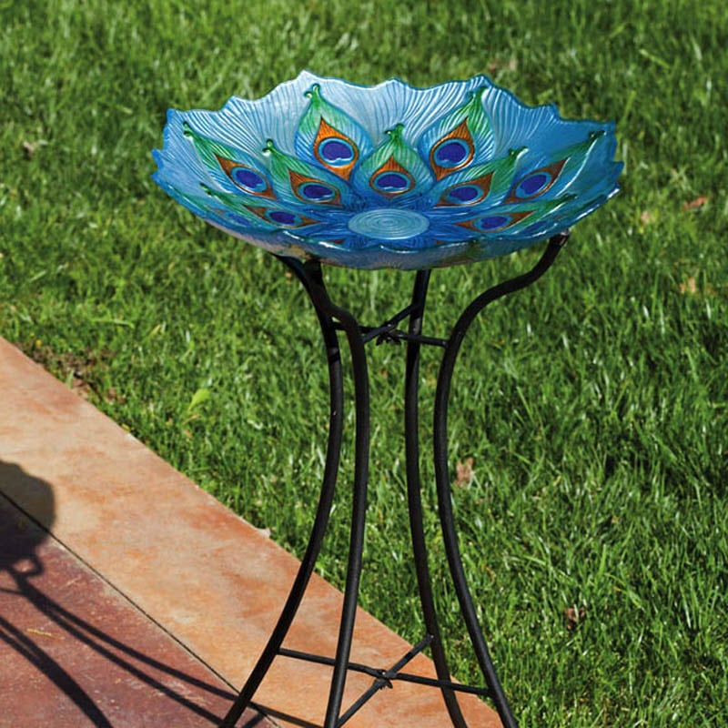 Peacock Birdbath, Large with full stand
