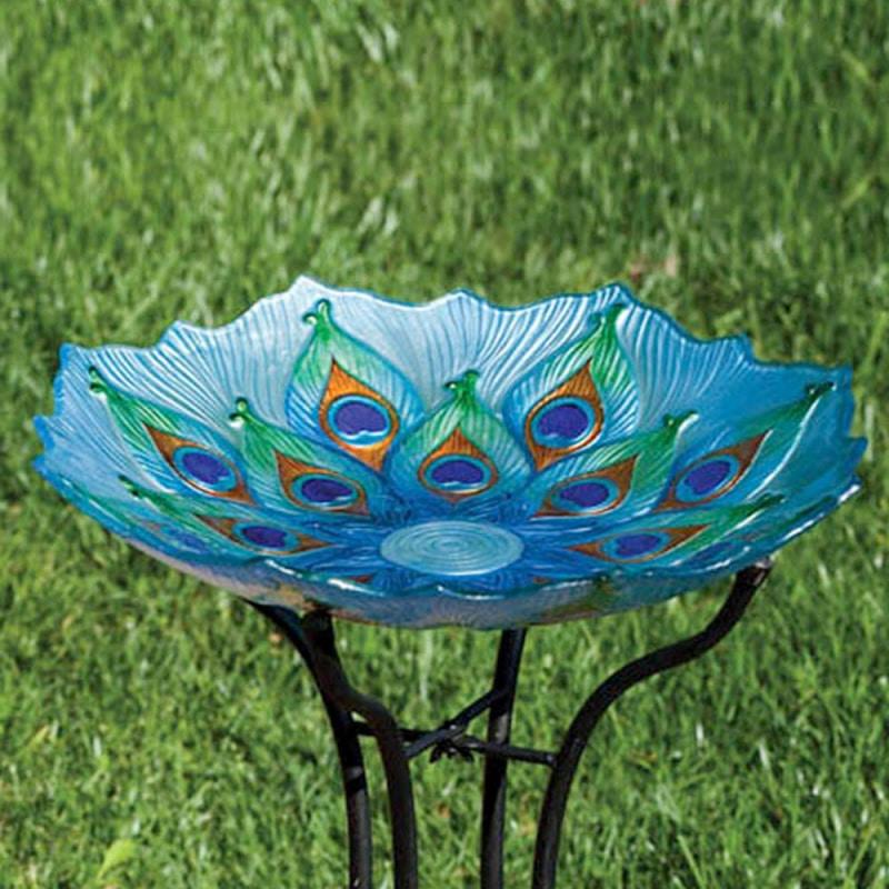 Glass Peacock Bird Bath Large Northwest Nature Shop