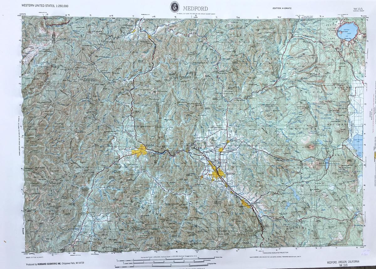 Hubbard Medford Raised Relief Map Northwest Nature Shop - Usgs map store